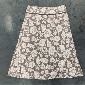 Boden Print Linen Long Skirt Size 14 Brown & White